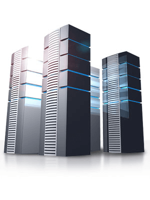 Black server towers for web hosting
